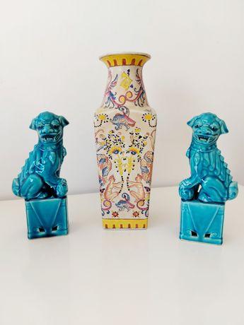 Par de Cães de foo em porcelana chinesa - Shi Leões Dragões 18cm
