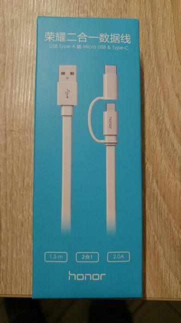 Oryginalny kabel USB na MicroUSB i USB-C Huawei/Honor 4 sztuki!