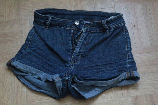 H&M spodenki szorty jeansowe high waist /028