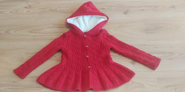 Sweter ciepły gruby sweterek z kapturem czerwony rozm. 92 TK Maxx