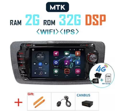 2Din Radio Android Auto Ibiza 6J 08-13