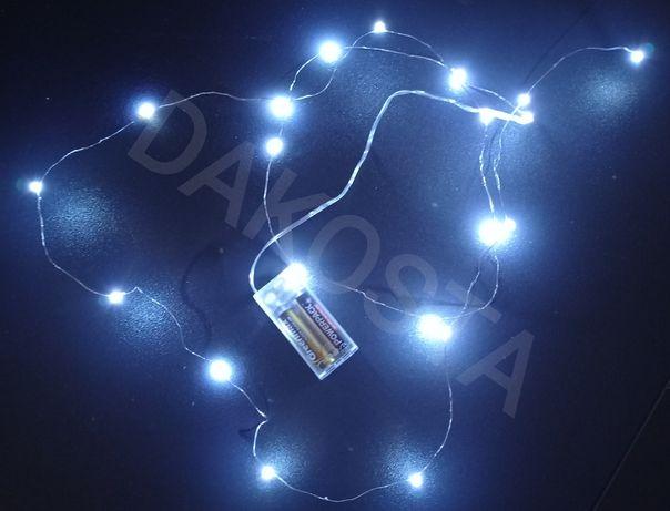 LAMPKI 20 LED  na baterie 2m ozdobą świecąca dekoracja 2xA biały zimny