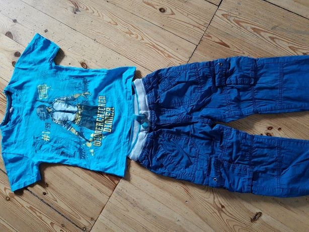 Spodnie ocieplane Smyk i koszulka dla chłopca na 122 cm