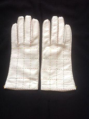 Кожаные белые перчатки, лайка, Италия. 7,5