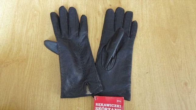 Nowe eleganckie skórzane rękawiczki damskie