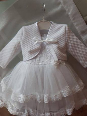 Sukienka chrzest rozm 68 - 74 +bolerko i buciki