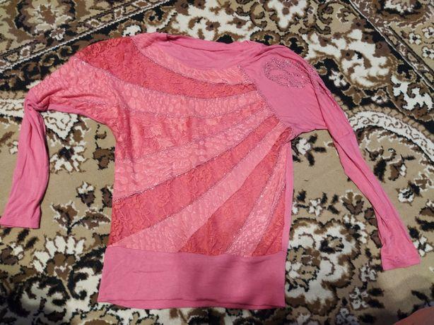 Кофта женская розовая стразы кружево 46р.