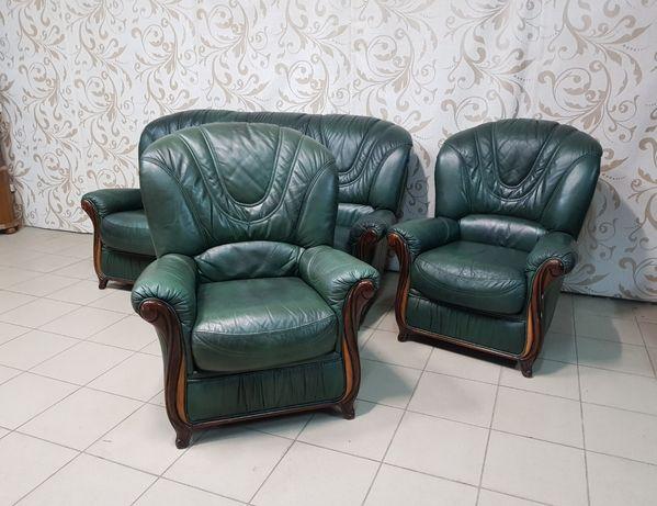 Кожаный гарнитур б/у кожаный комплект кожаный диван кожаное кресло