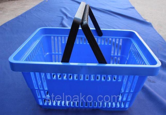 Корзинки пластиковые для покупателей на 22 л. с двумя ручками. Новые