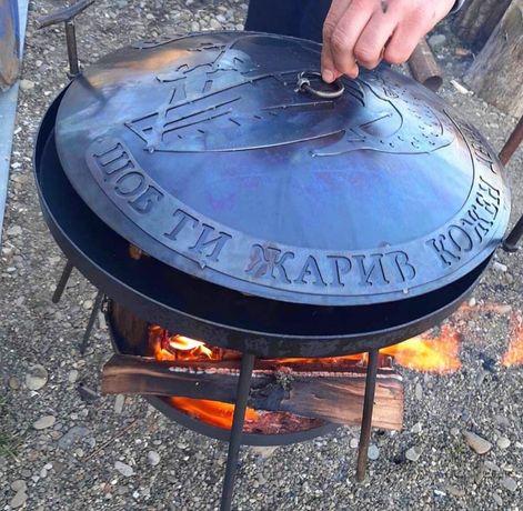 Сковорода Садж из диска бороны 50 см с подставкой для костра Киев