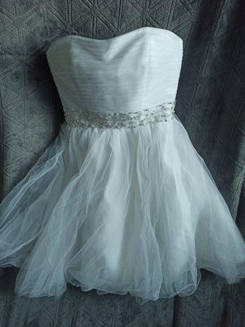 Okazja sukienka  ślub poprawiny ślub cywilny  36 S wiązana M gorsetowa