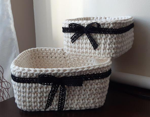 kwadratowe koszyki ze sznurka bawełnianego