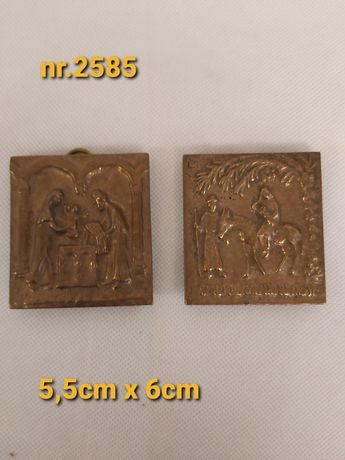 Małe Mosiężne  obrazki, przedstawiające Świętą Rodzinę
