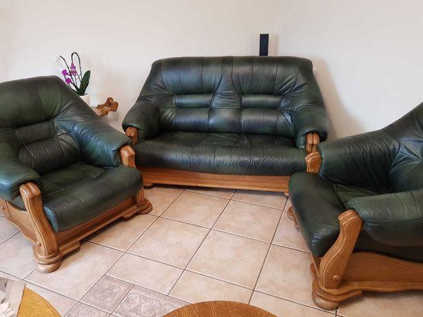 Zestaw wypoczynkowy, Sofa + 2 Fotele, Skóra naturalna stan Idealny