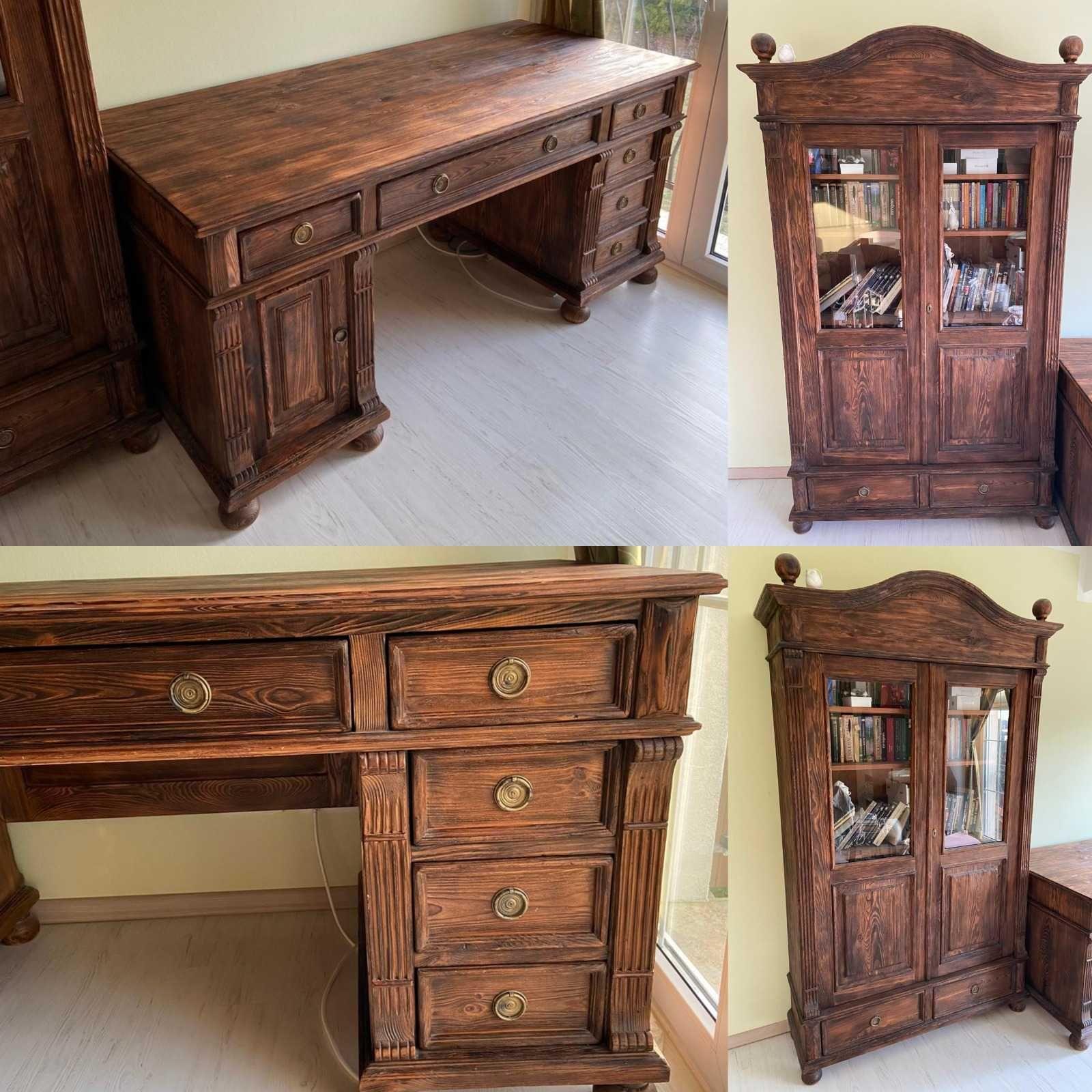 Biurko oraz biblioteczka z litego drewna
