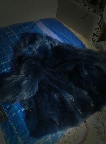 Шуба из натурального песца с капюшоном, синяя ( Самовывоз Днепр )