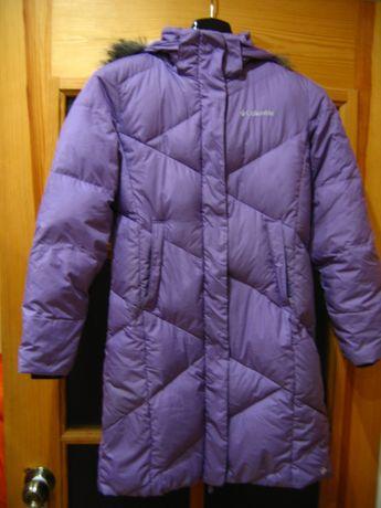 Пальто пуховик девочка Columbia сиреневый 10 лет
