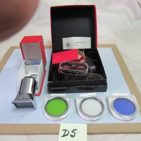 D-5  material fotográfico antigo:visor em metal e filtros
