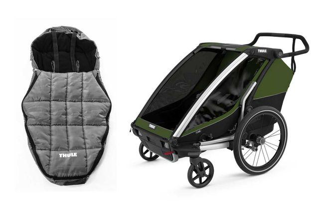 od ręki przyczepka rowerowa Thule Chariot Cab2 ze śpiworem