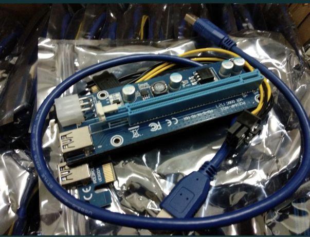 Райзер Riser v.006С PCI-E 6pin USB 3.0 60см рейзер майнинг mining НОВІ