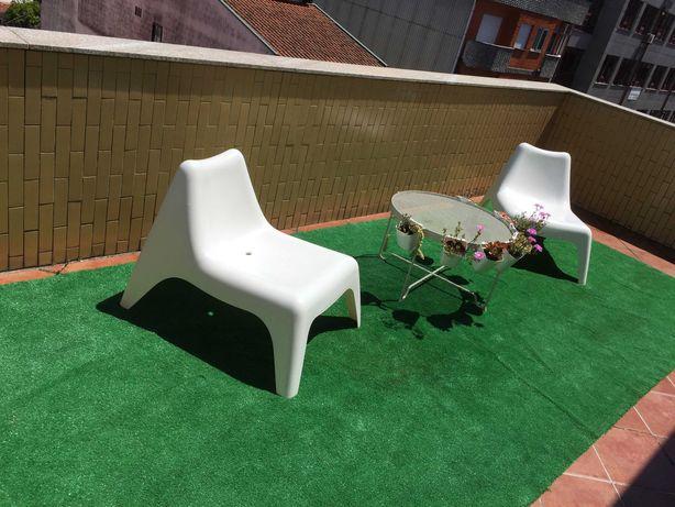 Móveis Jardim e terraço espreguiçadeira mesa e relva artificial 2mx5m