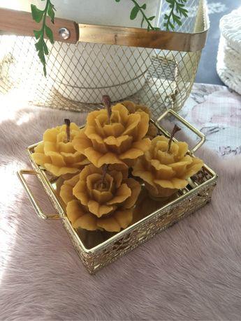 Świeczki ozdobne brokat róża kwiat choinka rękodzieło