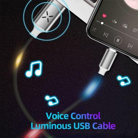 USB кабель реагирует на звук. Гирлянда. micro usb . Хит продаж!