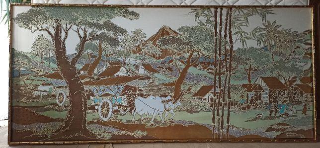 obraz malowany na jedwabiu w drewnianej ramie