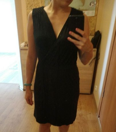 Легкое cвободное черное платье на лето, размер M-L