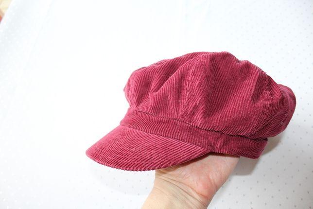bordowa czapka sztruksowa