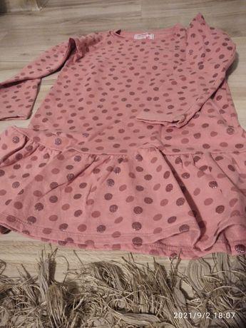 Sukienka ocieplana w grochy, tunika - 140