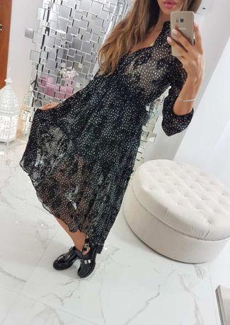 Sukienka asymetryczna haftowana falbana hit 2020