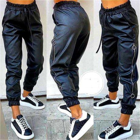 Skorzane spodnie z zamkami chinosy do kostek S/M/L