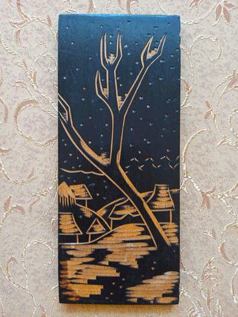 Деревянное панно. Картина, резьба по дереву. СССР