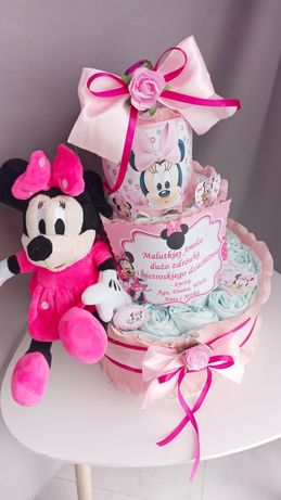 Tort z pampersów i myszką Miki lub Minnie GRAJĄCA