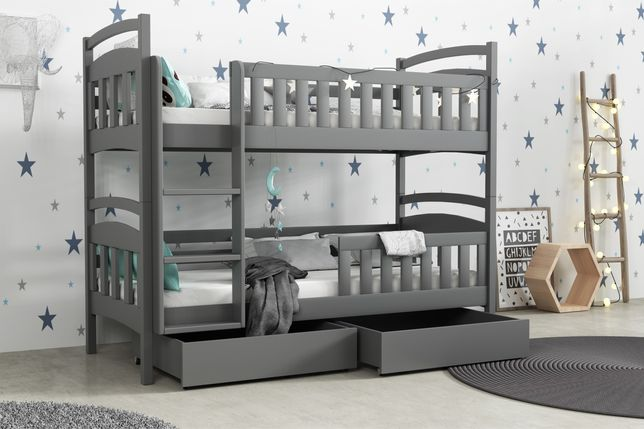 Łóżko piętrowe dwuosobowe dla dzieci MONA 5 + materace w zestawie!