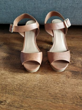 Sandały, sandałki, słupek, platforma, New Look, 39