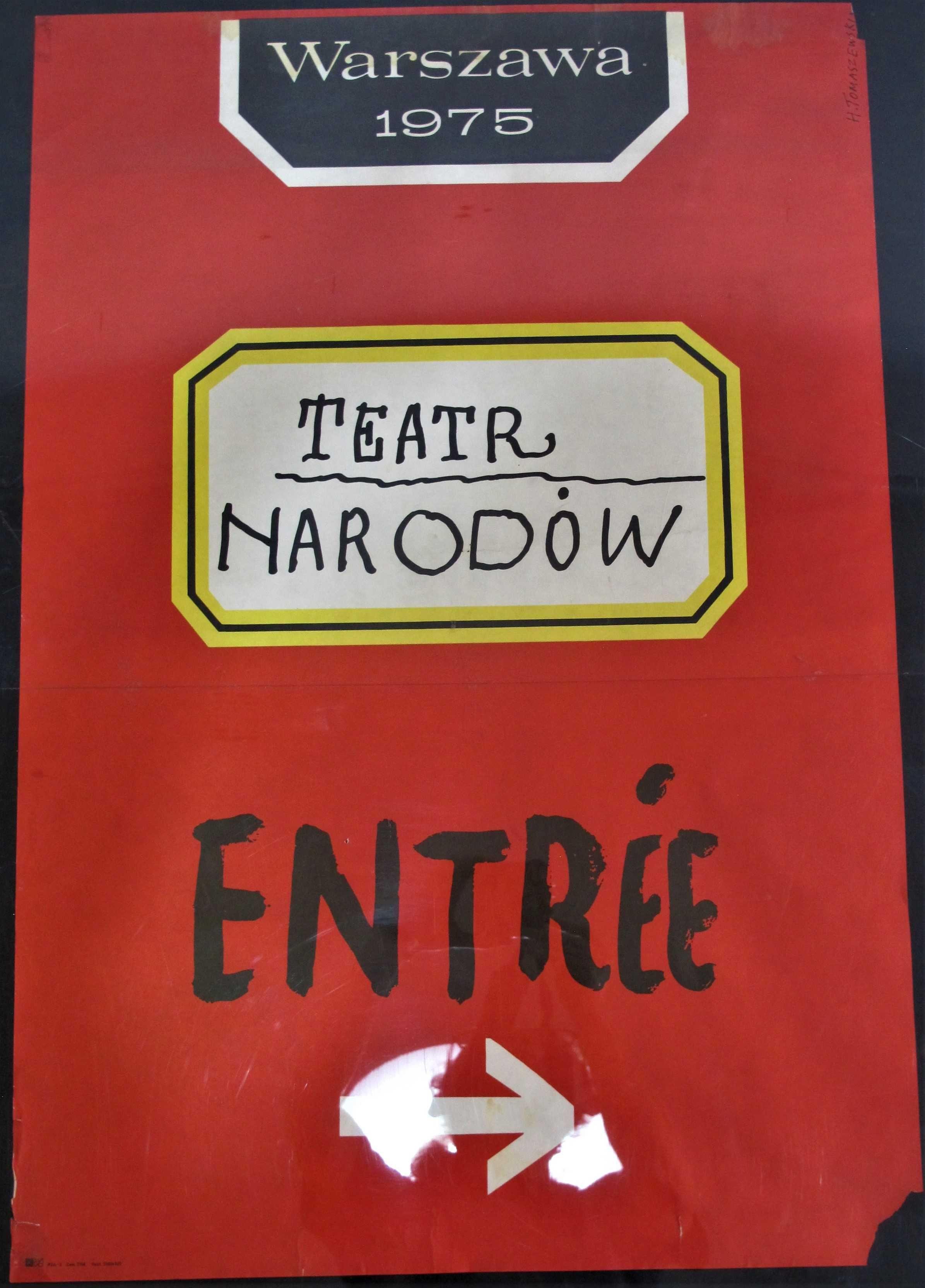 Plakat Entree Warszawa 1975 Teatr Narodów B1