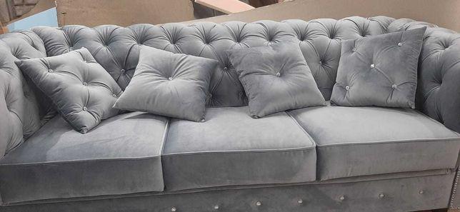 Sofa glamour wypasiona 220dluga,z f spania głębokie piki chesterfield