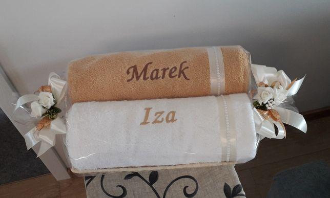 Komplet ręczników 70/140 cm z haftem w koszu, prezent na ślub, wesele,