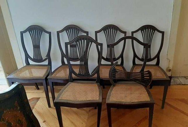 6 cadeiras de madeira e palhinha