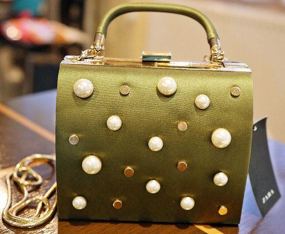 torebka zara nowa zielona łańcuszek rączka perły kopertówka kuferek