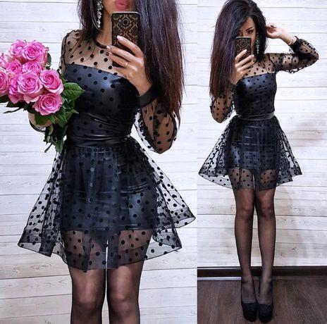 платье сетка в горох - черное эко кожа новое