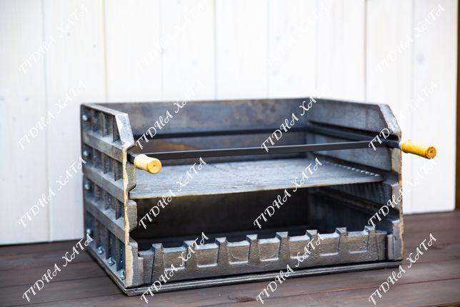 Чугунное барбекю 54см + чугунная решетка и рамка для шампуров BBQBBQ