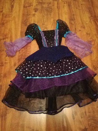 Sukienka przebranie na bal wróżka, czarownica 128 cm.
