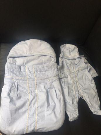 Rożek niemowlęcy,body i czapeczka