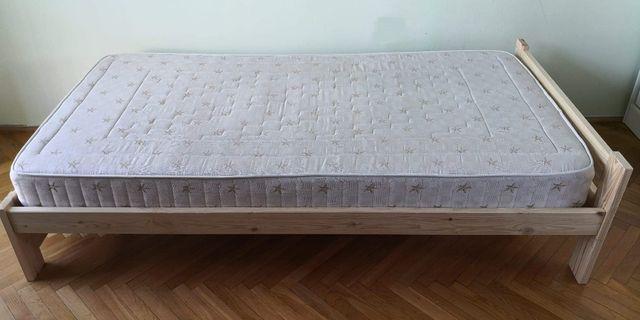 nowe łóżko drewniane sosnowe z materacem dwustronnym 100/200 cm.