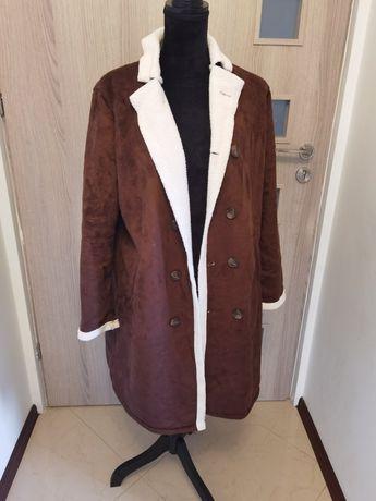 Brązowy płaszcz płaszczyk L XL