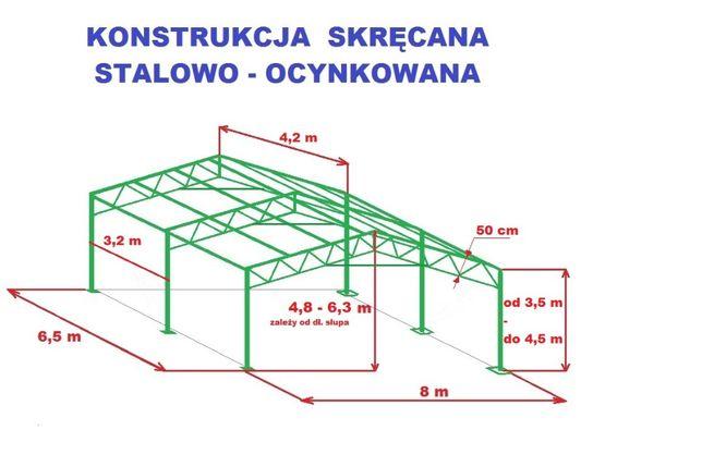 KONSTRUKCJA 8x6,5m Garaż Wiata Skręcana Ocynkowana Magazyn Namiot Hala