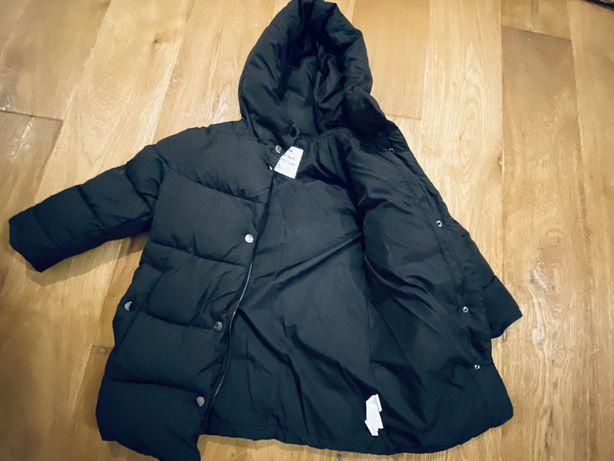 Zara kurtka zimowa czarna pikowana
